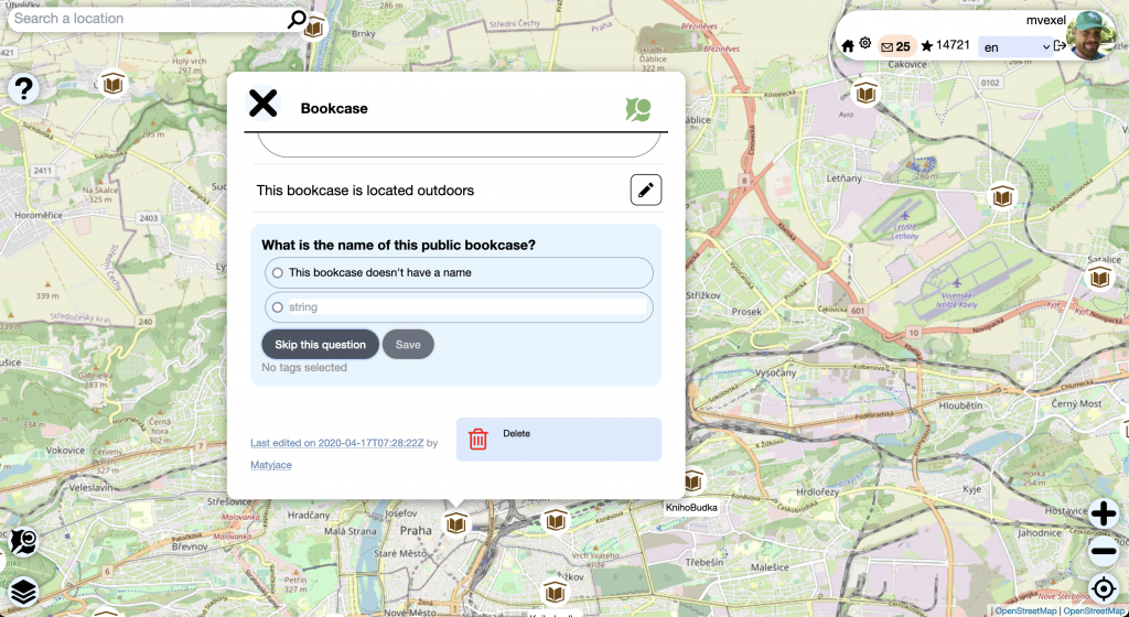 Screenshot of the MapComplete application